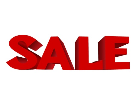 sales floor: red text SALE on on white background. illustration Illustration
