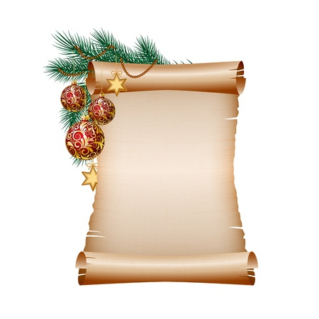 december holiday: Old blank scroll paper with red christmas balls on green spruce branch. illustration on white background