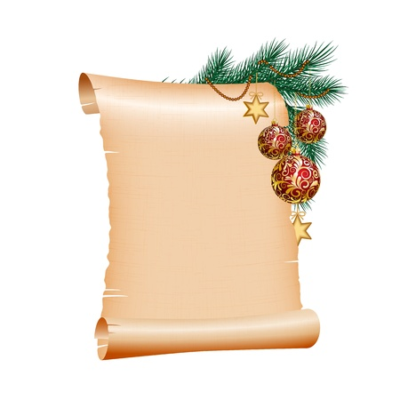 Old blank scroll paper with red christmas balls on green spruce branch. illustration on white background Vector