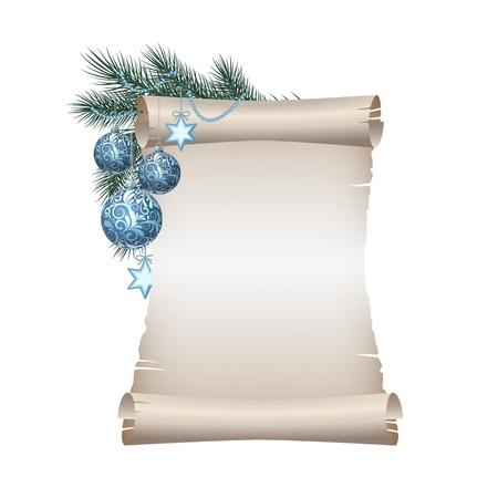 diciembre: Antiguo papel en blanco desplácese con bolas azules de la Navidad en rama de abeto verde. ilustración sobre fondo blanco Vectores