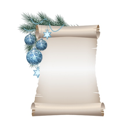 december: Old blank scroll paper with blue christmas balls on green spruce branch. illustration on white background