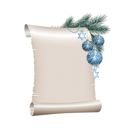 Old blank scroll paper with blue christmas balls on green spruce branch. illustration on white background