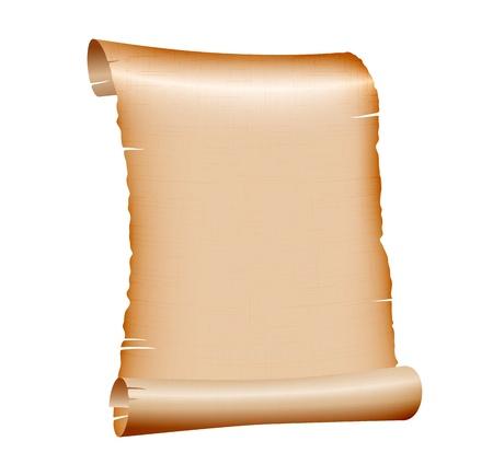 pergamino: antiguo rollo de papel en blanco sobre fondo blanco. ilustraci�n