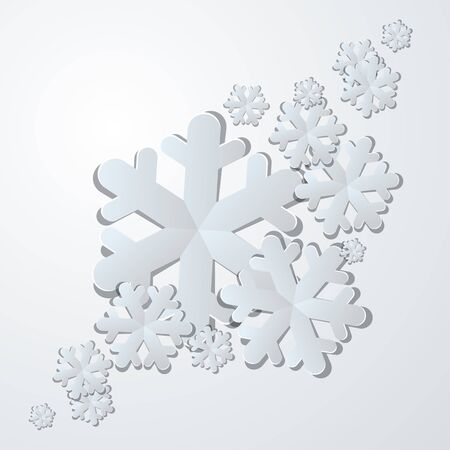 Winter background  White paper snowflakes with shadows  Vector illustration Stock Vector - 16473284
