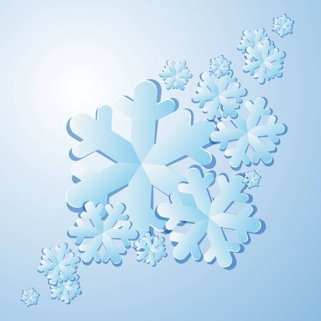 Winter background  Blue paper snowflakes with shadows  Vector illustration Vector