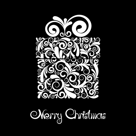 flower boxes: Christmas card - gift box with scroll ornament  Black and white vector Illustration Illustration