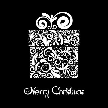 weihnachten zweig: Weihnachtskarte - Geschenk-Box mit Scroll Ornament Schwarz-Wei�-Vektor Illustration