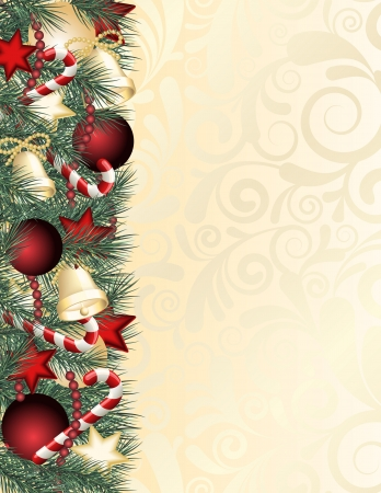 yellow ribbon: Christmas background with green branches   illustration Illustration