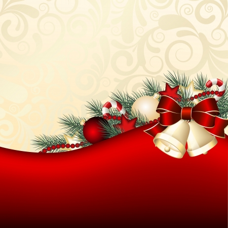 yellow ribbon: Christmas background with gold bells   illustration