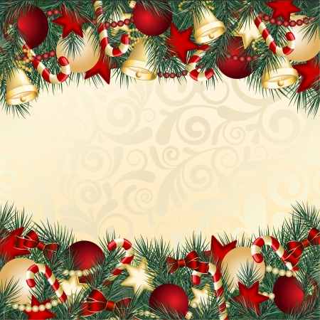 bright borders: Christmas card with Christmas tree branches and balls  illustration