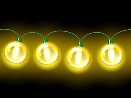 christmas bulbs: Yellow lamp festive garland  Seamless on black background