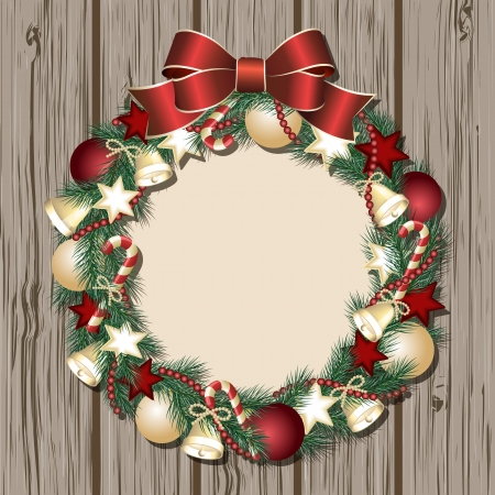 Christmas wreath on wooden door. Vector illustration Vector