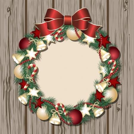 Christmas wreath on wooden door. Vector illustration Stock Vector - 16612237