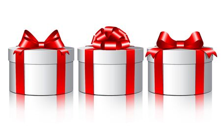 two year: Three white gift boxes with a red bows   illustration on white background