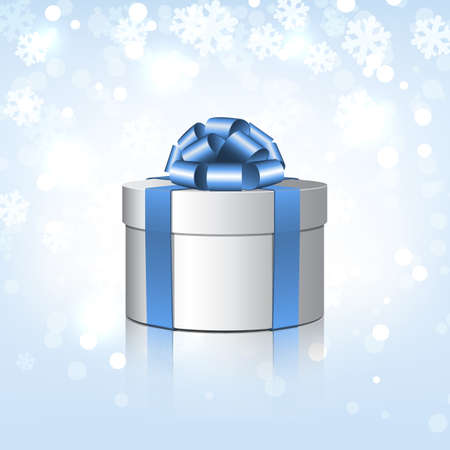 White gift box with a blue bow   illustration on snowflakes background Stock Vector - 16649113