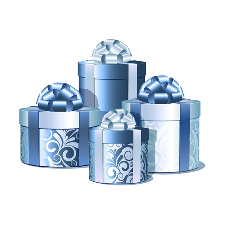 Silver and blue gift boxes  Vector illustration Stock Vector - 16693035