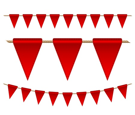 Festive red flags on white background   Vector illustration Vector