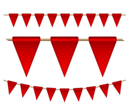 Festive red flags on white background   Vector illustration Stock Vector - 16693036