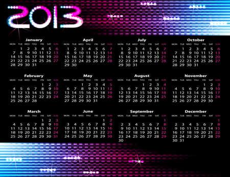 2013 year calendar  illustration on black background Stock Vector - 16730093