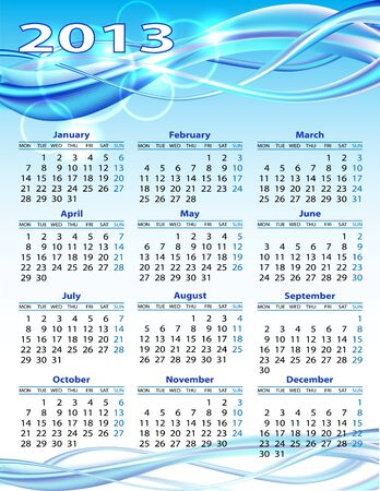 2013 year calendar  illustration on blue background Vector