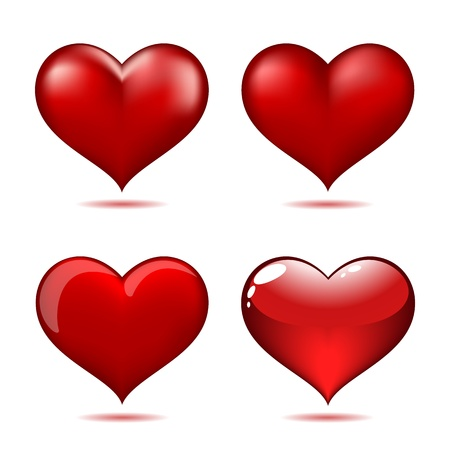 Set of Big Red Hearts Stock Vector - 17211527