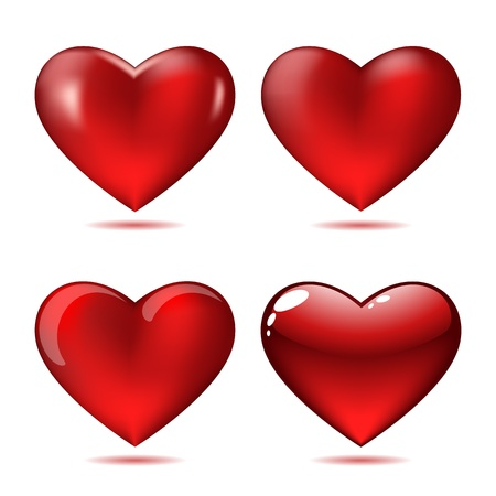 Set of Big Red Hearts Stock Vector - 17211529