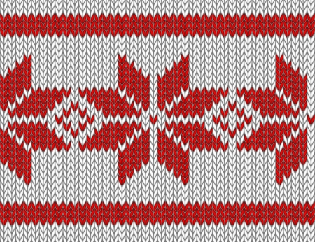 seamless knitted pattern with red snowflakes  vector illustration Stock Vector - 17234677
