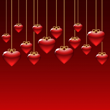 elegant background with red hearts  vector illustration Stock Vector - 17640382