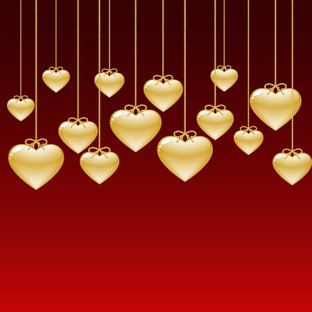 shiny hearts: elegant background with gold hearts Illustration