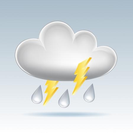Cloud icon  Rain and lightning  Vector illustration Stock Vector - 17800666