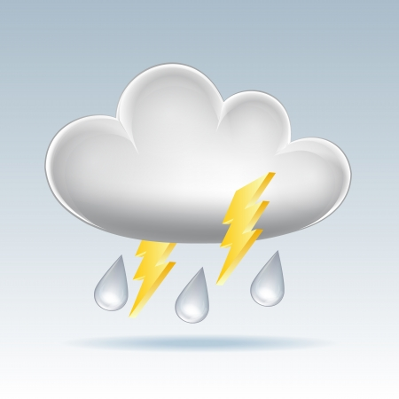 Cloud icon  Rain and lightning  Vector illustration Stock Vector - 17800666