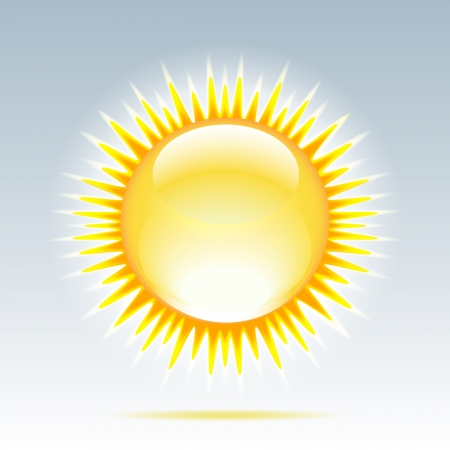 Weather icon - shiny sun in the sky   Vector illustration Stock Vector - 17800668