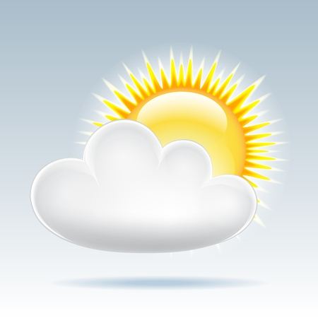 partly sunny: Weather icon - sun with cloud floats in the sky  Vector illustration
