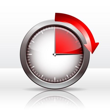 metering: Timer clock , 15  minutes  vector illustration Illustration