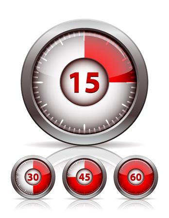metering: Set of timer clock, vector illustration