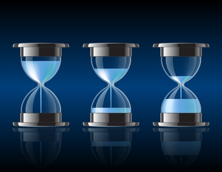 expire: Water falling in the hourglass in three different states  Vector illustration