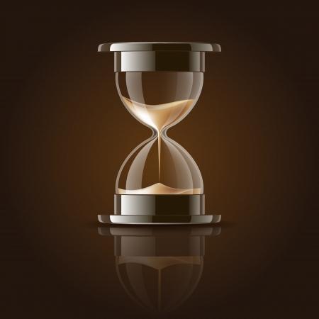 Arena que cae en el reloj de arena en la ilustración vectorial de fondo oscuro Ilustración de vector