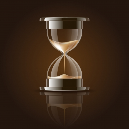 timer: Sand falling in the hourglass on dark background  Vector illustration