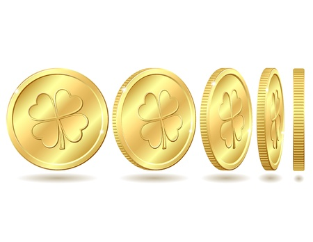 golden coins: Set of golden coins with four leaf clover  St  Patrick s day symbol  Vector illustration