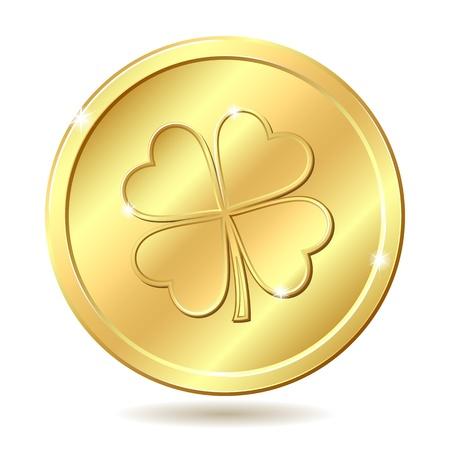 st patrick s day: Medaglia d'oro con quattro foglie di trifoglio St Patrick s day simbolo, vettore, illustrazione