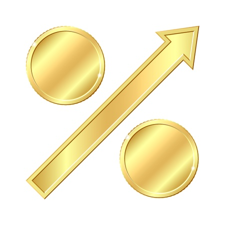 percentage sign: Growing percentage sign with gold coins  Vector illustration