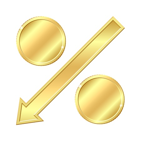 percentage sign: Percentage sign with gold coins  Vector illustration