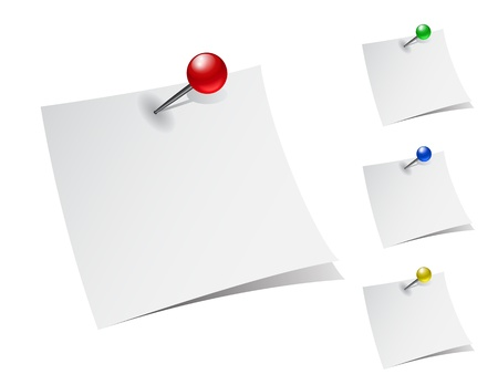 set of note papers with push pins on white background illustration