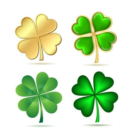Conjunto de tréboles de cuatro hojas aisladas en blanco ilustración símbolo del día de San Patricio s