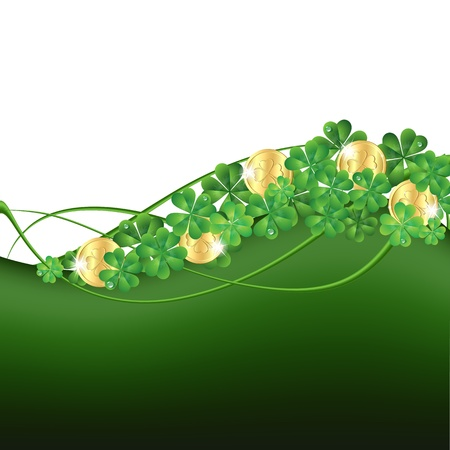 Patrick s Day card with clovers and golden coins  Vector illustration Stock Vector - 17800686