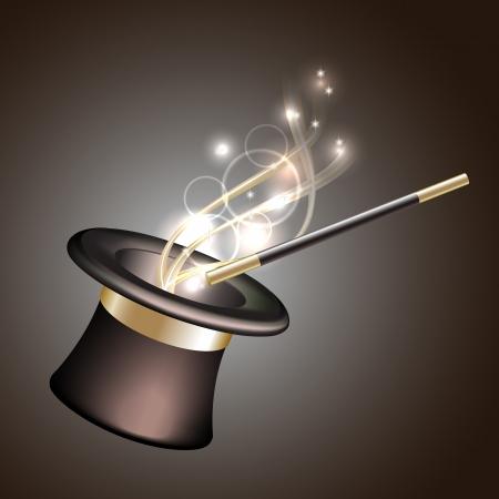 mago: Sombrero mágico fondo Ilustración vectorial