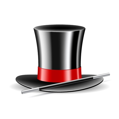 Magic hat and magic wand on white background  Vector illustration Stock Vector - 18002404