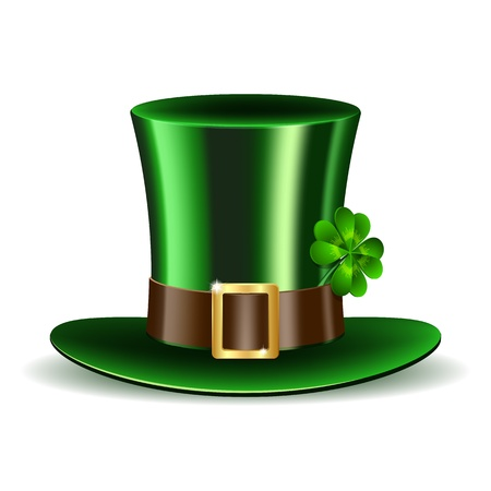 st  patrick: Green St  Patrick s Day hat with clover  Vector illustration
