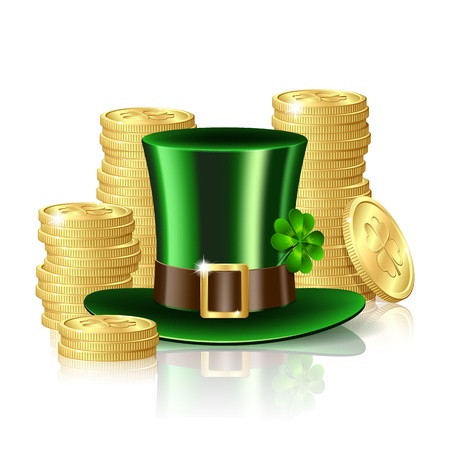 leprechaun hat: Patrick day background with gold coins and leprechaun hat Illustration