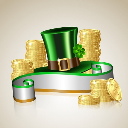 leprechaun hat: Patrick day card with gold coins and leprechaun hat Illustration